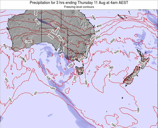 Tasmania Precipitation for 3 hrs ending Friday 25 May at 4am AEST map