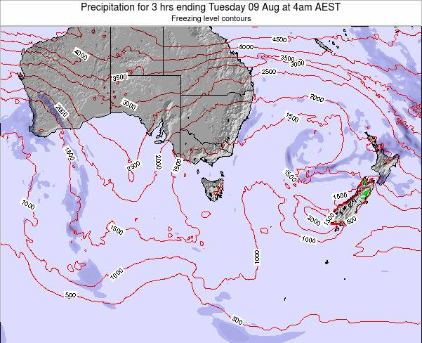 Tasmania Precipitation for 3 hrs ending Monday 21 Jan at 11am AEDT map