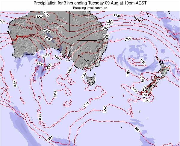 Tasmania Precipitation for 3 hrs ending Monday 19 Nov at 5pm AEDT map