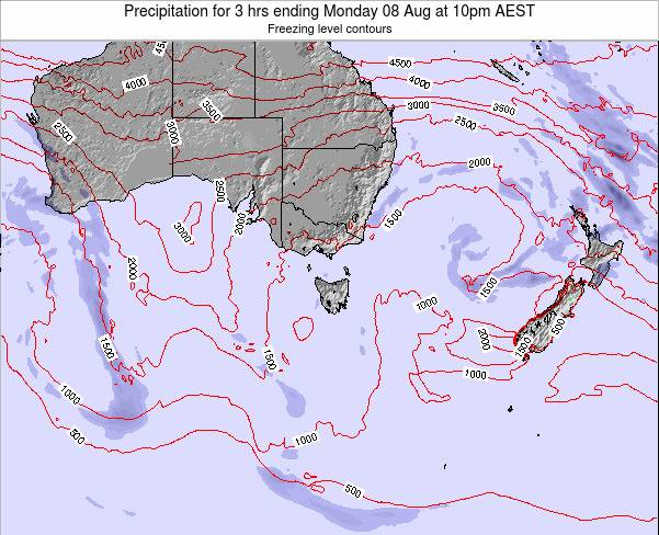 Tasmania Precipitation for 3 hrs ending Thursday 25 Oct at 5pm AEDT map