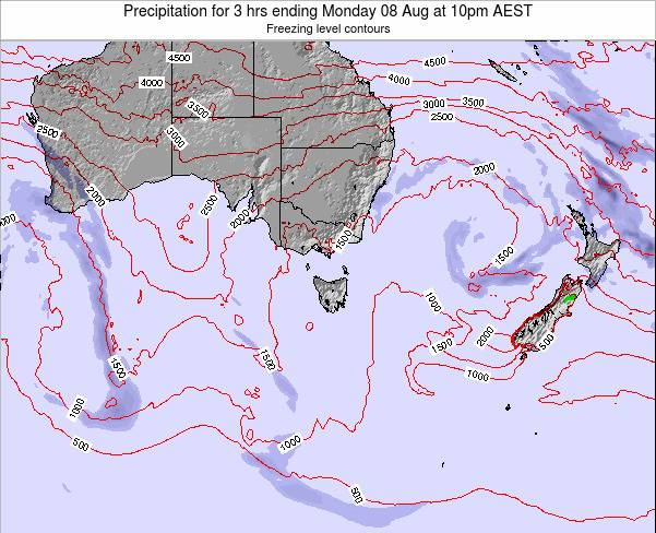 Tasmania Precipitation for 3 hrs ending Saturday 28 Apr at 10am AEST map