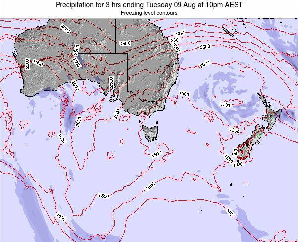 Tasmania Precipitation for 3 hrs ending Saturday 17 Nov at 5pm AEDT map