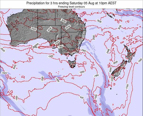 Tasmania Precipitation for 3 hrs ending Thursday 15 Nov at 5pm AEDT map