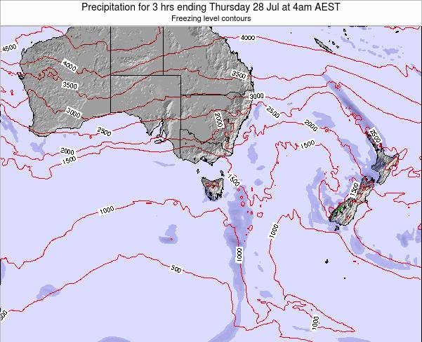 Tasmania Precipitation for 3 hrs ending Wednesday 12 Mar at 5pm EST