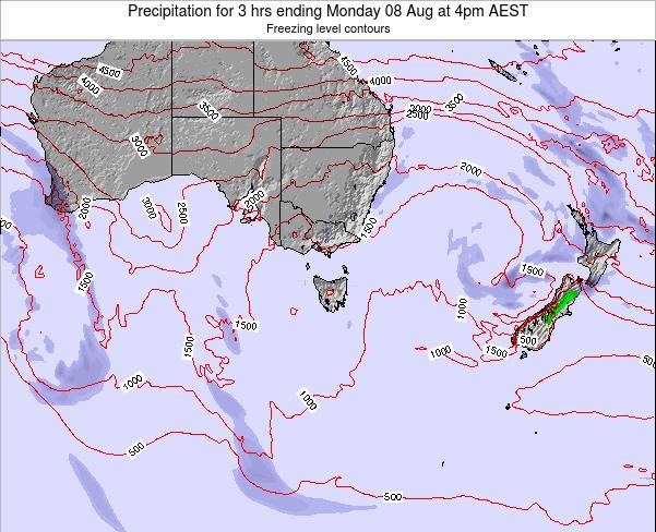 Tasmania Precipitation for 3 hrs ending Sunday 15 Dec at 11am EST