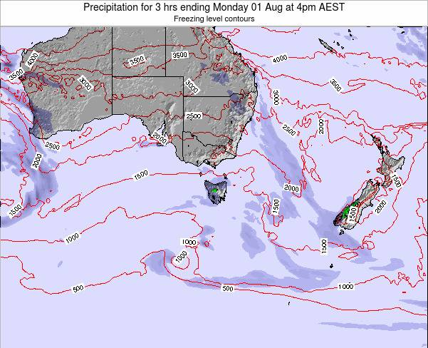 Tasmania Precipitation for 3 hrs ending Thursday 29 Sep at 10pm AEST