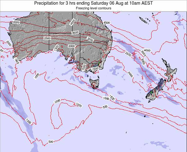 Tasmania Precipitation for 3 hrs ending Tuesday 23 Dec at 11pm EST