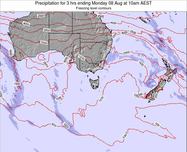 Tasmania Precipitation for 3 hrs ending Friday 01 Aug at 4am EST