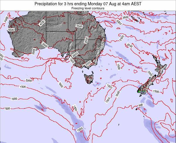Tasmania Precipitation for 3 hrs ending Thursday 26 Jul at 10am AEST map