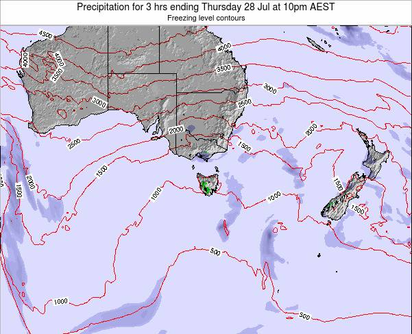 Tasmania Precipitation for 3 hrs ending Sunday 27 Apr at 4pm EST
