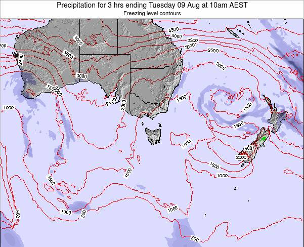 Tasmania Precipitation for 3 hrs ending Sunday 03 Aug at 10pm EST