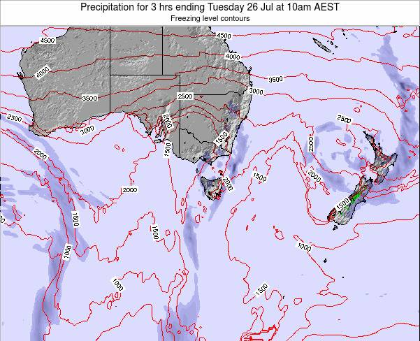 Tasmania Precipitation for 3 hrs ending Sunday 16 Mar at 5am EST