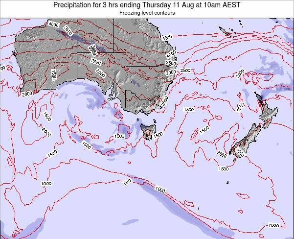 Tasmania Precipitation for 3 hrs ending Saturday 19 Apr at 10pm EST