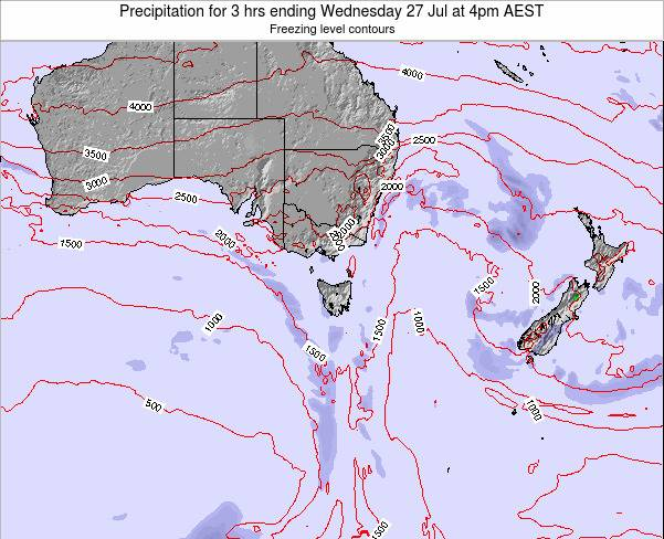 Tasmania Precipitation for 3 hrs ending Saturday 02 Aug at 4pm EST