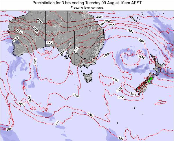 Tasmania Precipitation for 3 hrs ending Saturday 25 Oct at 5pm EST