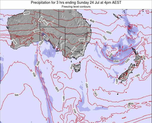 Tasmania Precipitation for 3 hrs ending Saturday 25 May at 4am EST