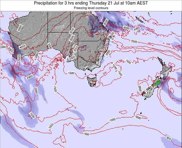 Tasmania Precipitation for 3 hrs ending Tuesday 29 Jul at 10am EST