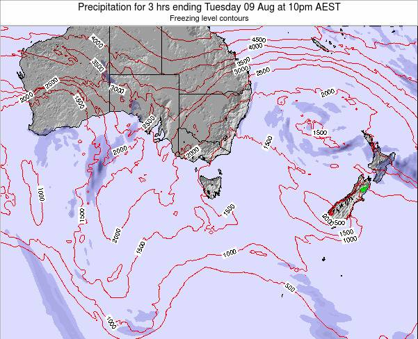 Tasmania Precipitation for 3 hrs ending Saturday 25 Feb at 11pm AEDT