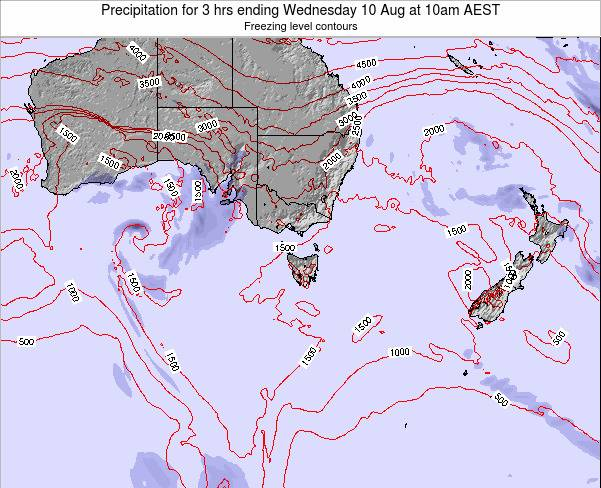 Tasmania Precipitation for 3 hrs ending Thursday 11 Feb at 5pm AEDT