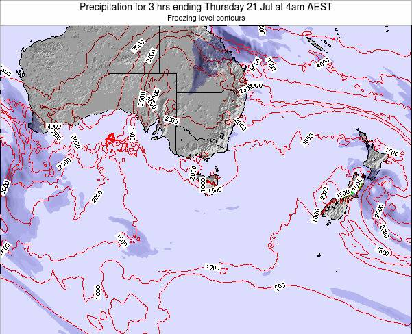 Tasmania Precipitation for 3 hrs ending Sunday 03 Aug at 10am EST