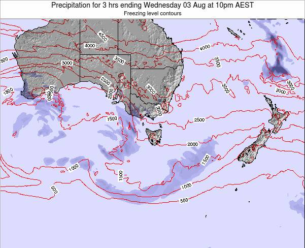 Tasmania Precipitation for 3 hrs ending Saturday 04 Oct at 10pm EST