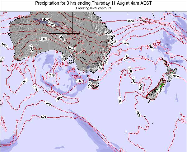 Tasmania Precipitation for 3 hrs ending Monday 09 Dec at 5am EST