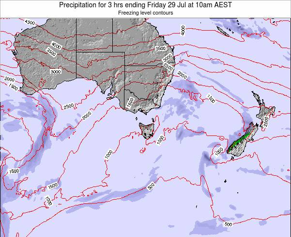 Tasmania Precipitation for 3 hrs ending Wednesday 29 Nov at 11am AEDT map