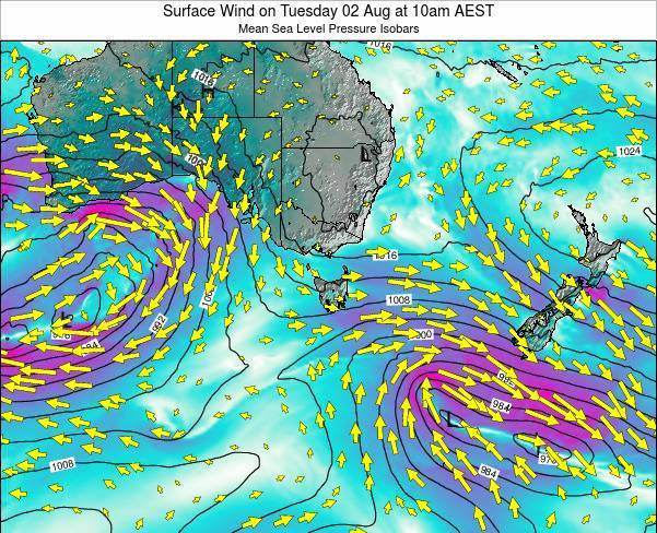 Tasmania Surface Wind on Tuesday 28 May at 4am EST