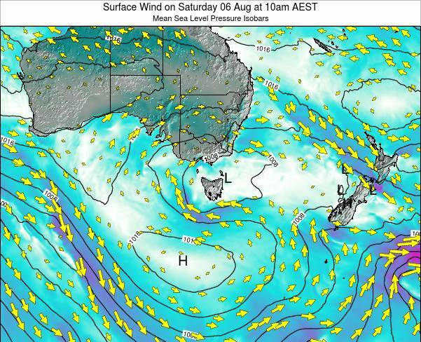 Tasmania Surface Wind on Thursday 23 May at 4pm EST