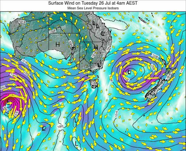 Tasmania Surface Wind on Tuesday 25 Jun at 4am EST