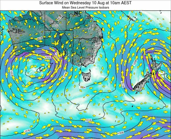 Tasmania Surface Wind on Thursday 07 Aug at 4pm EST