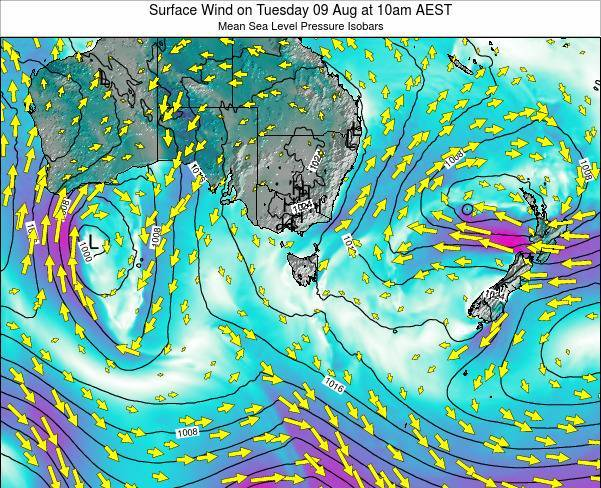 Tasmania Surface Wind on Sunday 14 Feb at 11am AEDT