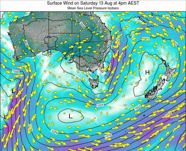 Tasmania Surface Wind on Thursday 01 May at 10pm EST