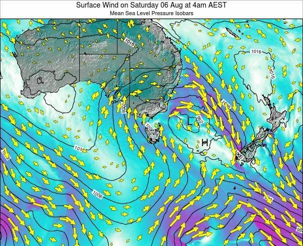Tasmania Surface Wind on Friday 13 Dec at 5am EST