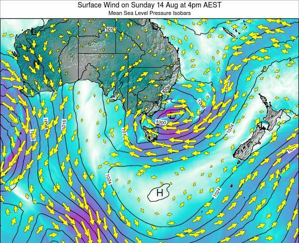 Tasmania Surface Wind on Saturday 01 Nov at 5am EST