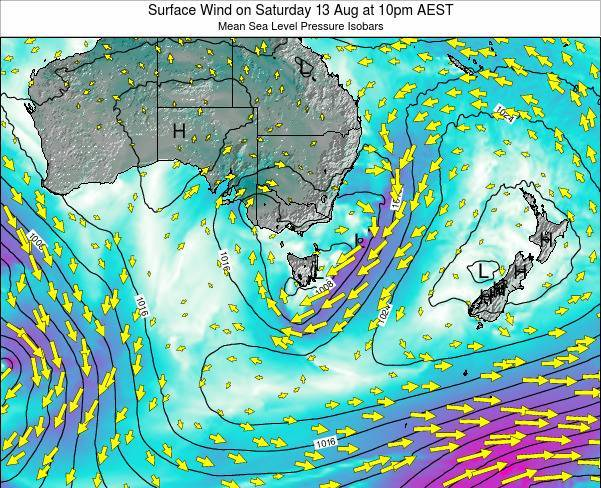 Tasmania Surface Wind on Sunday 10 May at 4pm EST