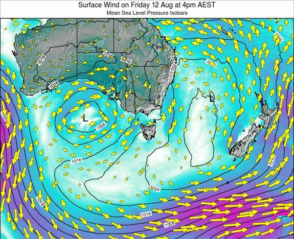 Tasmania Surface Wind on Wednesday 27 Aug at 4pm EST
