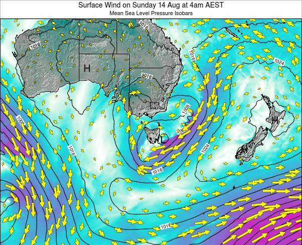 Tasmania Surface Wind on Sunday 26 May at 4am EST