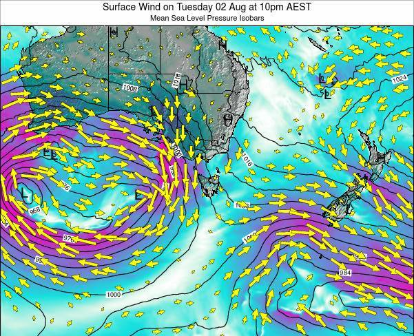 Tasmania Surface Wind on Monday 20 May at 4pm EST