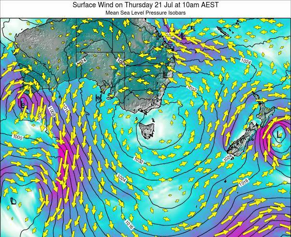 Tasmania Surface Wind on Monday 27 May at 4pm EST