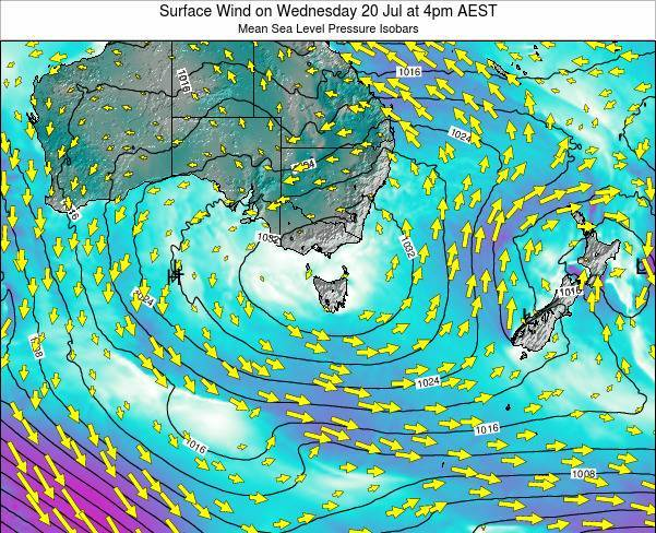 Tasmania Surface Wind on Tuesday 28 May at 4pm EST