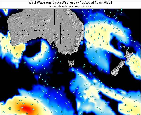 Tasmania Wind Wave energy on Monday 28 Apr at 10am EST