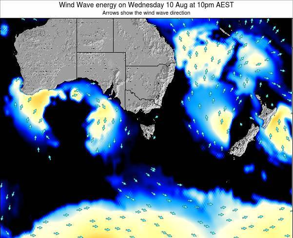 Tasmania Wind Wave energy on Tuesday 23 Dec at 5pm EST