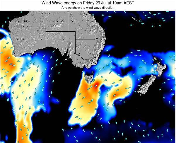 Tasmania Wind Wave energy on Wednesday 05 Nov at 5am EST