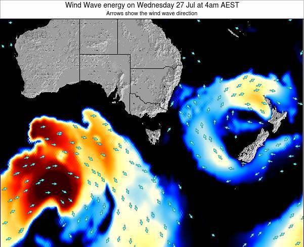 Tasmania Wind Wave energy on Saturday 02 Aug at 10pm EST