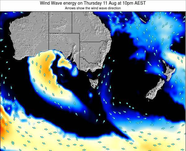 Tasmania Wind Wave energy on Wednesday 23 Apr at 10am EST