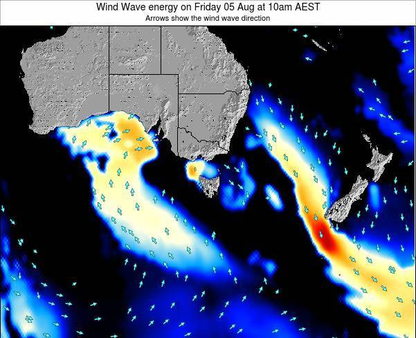 Tasmania Wind Wave energy on Thursday 23 May at 4pm EST