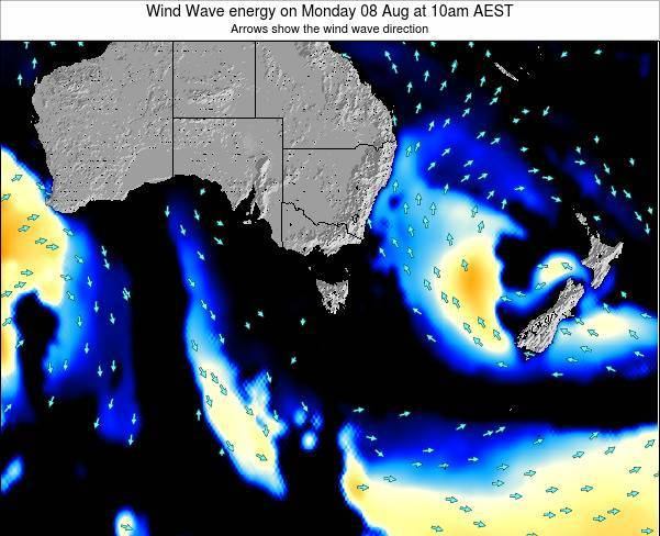 Tasmania Wind Wave energy on Wednesday 22 May at 4pm EST