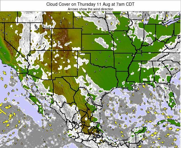 Texas Cloud Cover on Wednesday 12 Mar at 12pm CST
