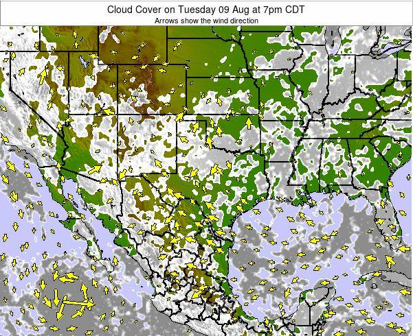 Texas Cloud Cover on Sunday 26 May at 7am CDT